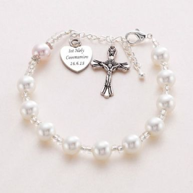 Personalised Rosary Bracelet with Pearls | Heavens Blessings